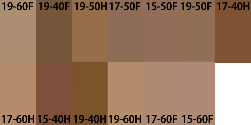 様々なブラウン15-40H 15-50F 15-60F 17-40H 17-50F 17-60F 17-60H 19-40F 19-40H 19-50F 19-50H 19-60F 19-60H