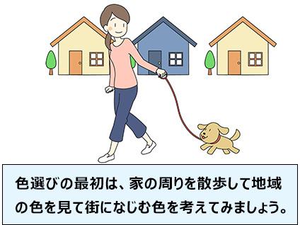 色選びの最初は、家の周りを散歩して地域の色を見て街になじむ色を考えてみましょう。