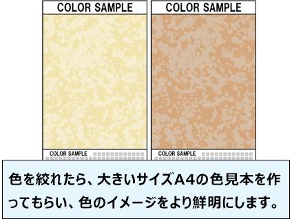 色を絞れたら、大きいサイズA4の色見本を作ってもらい、色のイメージをより鮮明にします。
