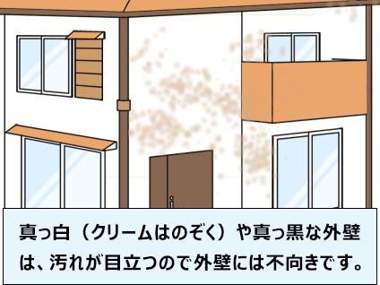 真っ白(クリームはのぞく)や真っ黒な外壁は、汚れが目立つので外壁には不向きです。