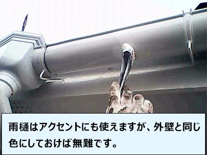 雨樋はアクセントにも使えますが、外壁と同じ色にしておけば無難です。