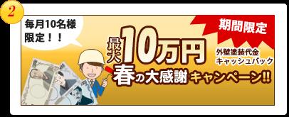 合計103名様 最大2万円 外壁塗装代金キャッシュバック春の大感謝キャンペーン!!ダブルチャンスで当たる!